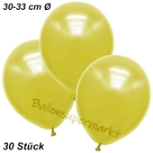 Premium Metallic Luftballons, Gelb, 30-33 cm, 30 Stück