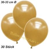 Premium Metallic Luftballons, Gold, 30-33 cm, 30 Stück