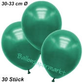 Premium Metallic Luftballons, Malachitgrün, 30-33 cm, 30 Stück