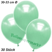 Premium Metallic Luftballons, Mintgrün, 30-33 cm, 30 Stück