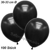 Premium Metallic Luftballons, Schwarz, 30-33 cm, 100 Stück