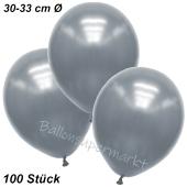 Premium Metallic Luftballons, Silber, 30-33 cm, 100 Stück