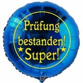 Prüfung bestanden! Super! Blauer Luftballon aus Folie mit Helium Ballongas