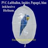 PVC-Folien-Luftballon, Papagei, blau, Insider Ballon, inklusive Helium-Ballongas
