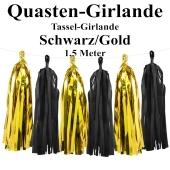 Quasten Girlande Schwarz-Gold, Festdekoration und Partydekoration