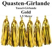Quasten Girlande Gold, Festdekoration und Partydekoration