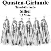 Quasten Girlande Silber, Festdekoration und Partydekoration