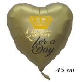 Queen for a Day, Herz, Satin Gold, inklusive Helium, 45 cm