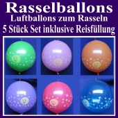 Rasselballons, Luftballons zum Rasseln, 5er Set mit Reis