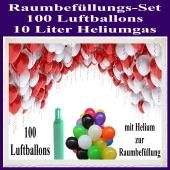 Raumbefüllungs-Set 100 Luftballons, 10 Liter Heliumgas