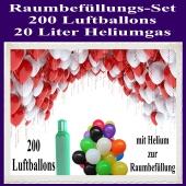 Raumbefüllungs-Set 200 Luftballons, 20 Liter Heliumgas