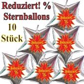 Reduziert! %, 10 Stück silberne Sternballons zur Befüllung mit Luft, zu Werbeaktionen, Rabattaktionen, Schaufensterdekoration