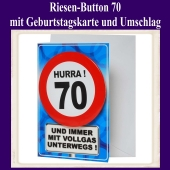 Riesen-Button Geburtstag 70 mit Geburtstagskarte und Umschlag