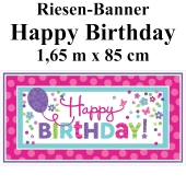 Pink & Teal Happy Birthday Riesenbanner