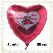 Zum Valentinstag Alles Liebe, riesiger Herzluftballon aus Folie mit Helium
