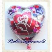Großer Herzballon, Insider, Ballon im Ballon, Lots of Love, mit Helium zu Liebe und Valentinstag