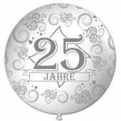 Riesen-Luftballon 25 Jahre, weiss, 75 cm, Riesenballon mit Jubiläumszahl, Zahl 25 auf dem riesigen Ballon