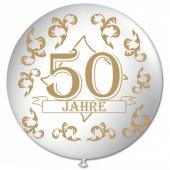 Riesen-Luftballon 50 Jahre, weiss, 75 cm, Riesenballon mit Geburtstagszahl, Zahl 50 auf dem riesigen Ballon, Goldene Hochzeit