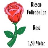 Riesengroße Rose, Luftballon aus Folie mit helium zu Valentinstag und Liebe, schwebender Liebesbotschafter