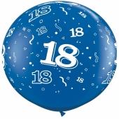 Riesen-Luftballon Zahl 18, blau, 90 cm, Riesenballon mit Geburtstagszahl, Zahl 18 auf dem riesigen Ballon