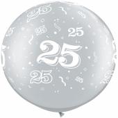 Riesen-Luftballon Zahl 25, silber metallic, 90 cm, Riesenballon mit Jubiläumszahl, Zahl 25 auf dem riesigen Ballon