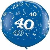 Riesen-Luftballon Zahl 40, blau, 90 cm, Riesenballon mit Geburtstagszahl, Zahl 40 auf dem riesigen Ballon