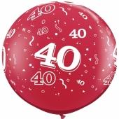 Riesen-Luftballon Zahl 40, pink, 90 cm, Riesenballon mit Geburtstagszahl, Zahl 40 auf dem riesigen Ballon