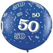 Riesen-Luftballon Zahl 50, blau, 90 cm, Riesenballon mit Geburtstagszahl, Zahl 50 auf dem riesigen Ballon