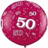 Riesen-Luftballon Zahl 50, pink, 90 cm, Riesenballon mit Geburtstagszahl, Zahl 50 auf dem riesigen Ballon