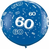Riesen-Luftballon Zahl 60, blau, 90 cm, Riesenballon mit Geburtstagszahl, Zahl 60 auf dem riesigen Ballon