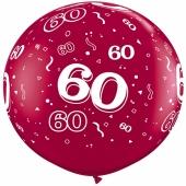 Riesen-Luftballon Zahl 60, pink, 90 cm, Riesenballon mit Geburtstagszahl, Zahl 60 auf dem riesigen Ballon
