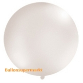 Großer Rund-Luftballon, Perlweiß-Metallic, 100 cm