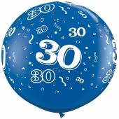 Riesen-Luftballon Zahl 30, blau, 90 cm, Riesenballon mit Geburtstagszahl, Zahl 30 auf dem riesigen Ballon