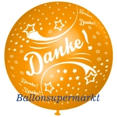 Riesen-Luftballon Danke, orange, 75 cm, Danke auf dem riesigen Ballon