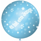 Es ist ein Junge, Riesenluftballon in Babyblau