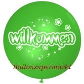 Riesen-Luftballon Willkommen, apfelgruen, 75 cm, Willkommen auf dem riesigen Ballon