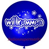 Riesen-Luftballon Willkommen, blau, 75 cm, Willkommen auf dem riesigen Ballon