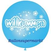 Riesen-Luftballon Willkommen, himmelblau, 75 cm, Willkommen auf dem riesigen Ballon