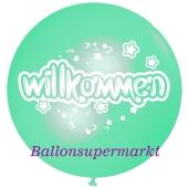 Riesen-Luftballon Willkommen, mintgruen, 75 cm, Willkommen auf dem riesigen Ballon