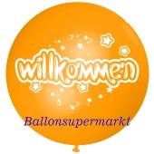 Riesen-Luftballon Willkommen, orange, 75 cm, Willkommen auf dem riesigen Ballon