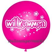 Riesen-Luftballon Willkommen, pink, 75 cm, Willkommen auf dem riesigen Ballon