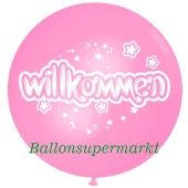 Riesen-Luftballon Willkommen, rosa, 75 cm, Willkommen auf dem riesigen Ballon