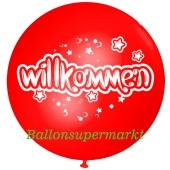 Riesen-Luftballon Willkommen, rot, 75 cm, Willkommen auf dem riesigen Ballon