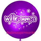 Riesen-Luftballon Willkommen, violett, 75 cm, Willkommen auf dem riesigen Ballon