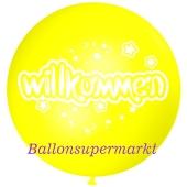 Riesen-Luftballon Willkommen, zitronengelb, 75 cm, Willkommen auf dem riesigen Ballon