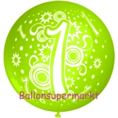 Riesen-Luftballon Zahl 1, apfelgrün, 75 cm, Riesenballon zum 1. Geburtstag, Zahl 1 auf dem riesigen Ballon