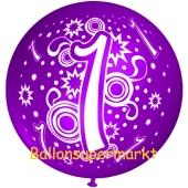 Riesen-Luftballon Zahl 1, violett, 75 cm, Riesenballon zum 1. Geburtstag, Zahl 1 auf dem riesigen Ballon