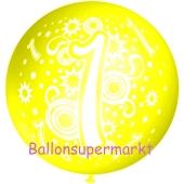 Riesen-Luftballon Zahl 1, zitronengelb, 75 cm, Riesenballon zum 1. Geburtstag, Zahl 1 auf dem riesigen Ballon