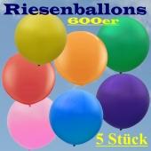 Riesenballons 600er, 5 Stück riesige Luftballons, Rundballons aus Latex, 2 Meter Durchmesser