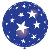 Riesen-Luftballon mit Sternen, blau, 75 cm